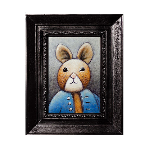 "<p>Rabbit in Blue Shirt, 5x7"" Acrylic Painting by Justin D Miller. Comes with frame as shown, ready to hang with wire. All acrylic paintings are on masonite wood panel and have a semi-gloss finish. Size listed is of the painting size, not including frame. For fully framed size, please contact me.  Sticker on back with name, size, and my information.</p>"