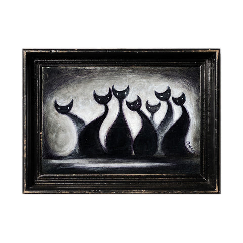 "<p>Seven Cats, Horizontal, 5x7"" Acrylic Painting by Justin D Miller. Comes with frame as shown, ready to hang with wire. All acrylic paintings are on masonite wood panel and have a semi-gloss finish. Size listed is of the painting size, not including frame. For fully framed size, please contact me.  Sticker on back with name, size, and my information.</p>"