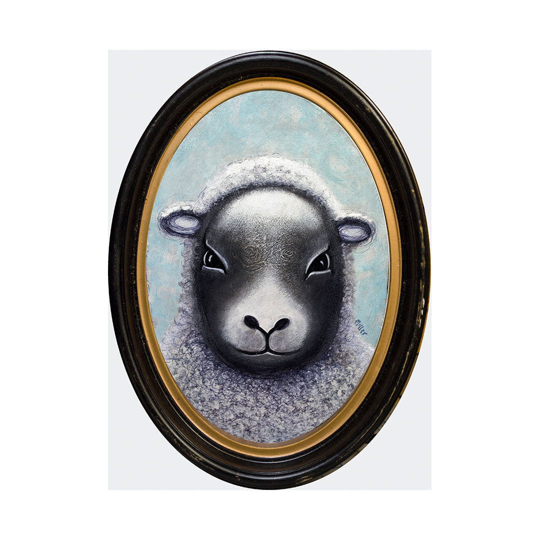 "Sheep, 7"" Oval Acrylic Painting"