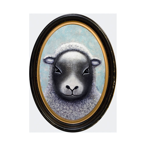 "<p>Sheep, 7"" Oval Acrylic Painting by Justin D Miller. Comes with frame as shown, ready to hang with wire. All acrylic paintings are on masonite wood panel and have a semi-gloss finish. Size listed is of the painting size, not including frame. For fully framed size, please contact me.  Sticker on back with name, size, and my information.</p>"