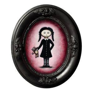 "Girl with Teddy, 9"" Oval Acrylic Painting"