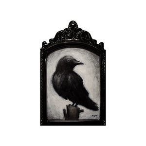 "Crow in Metal Frame, 5x7"" Acrylic Painting"
