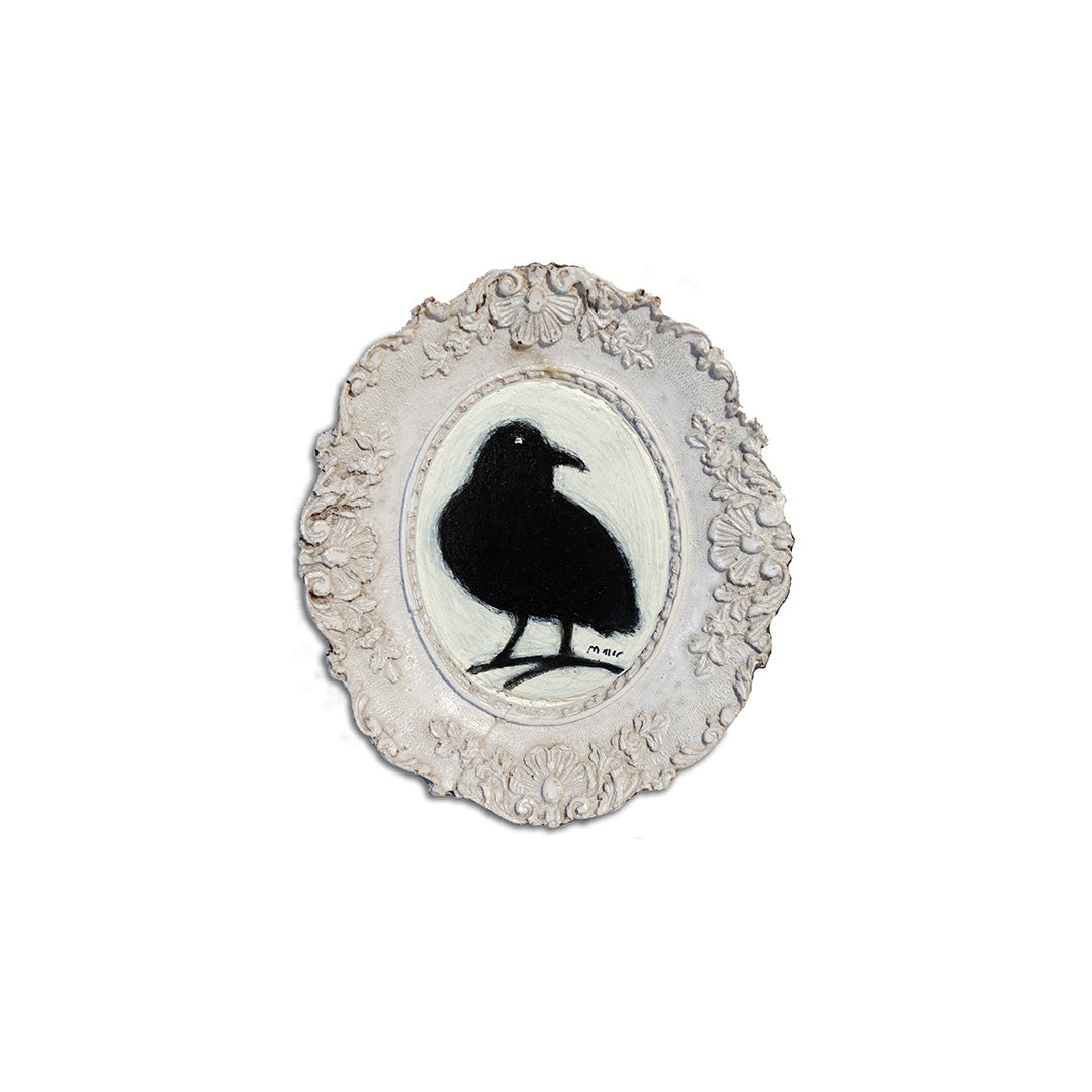 "Small Crow, 3"" Oval Acrylic Painting in Resin Frame"