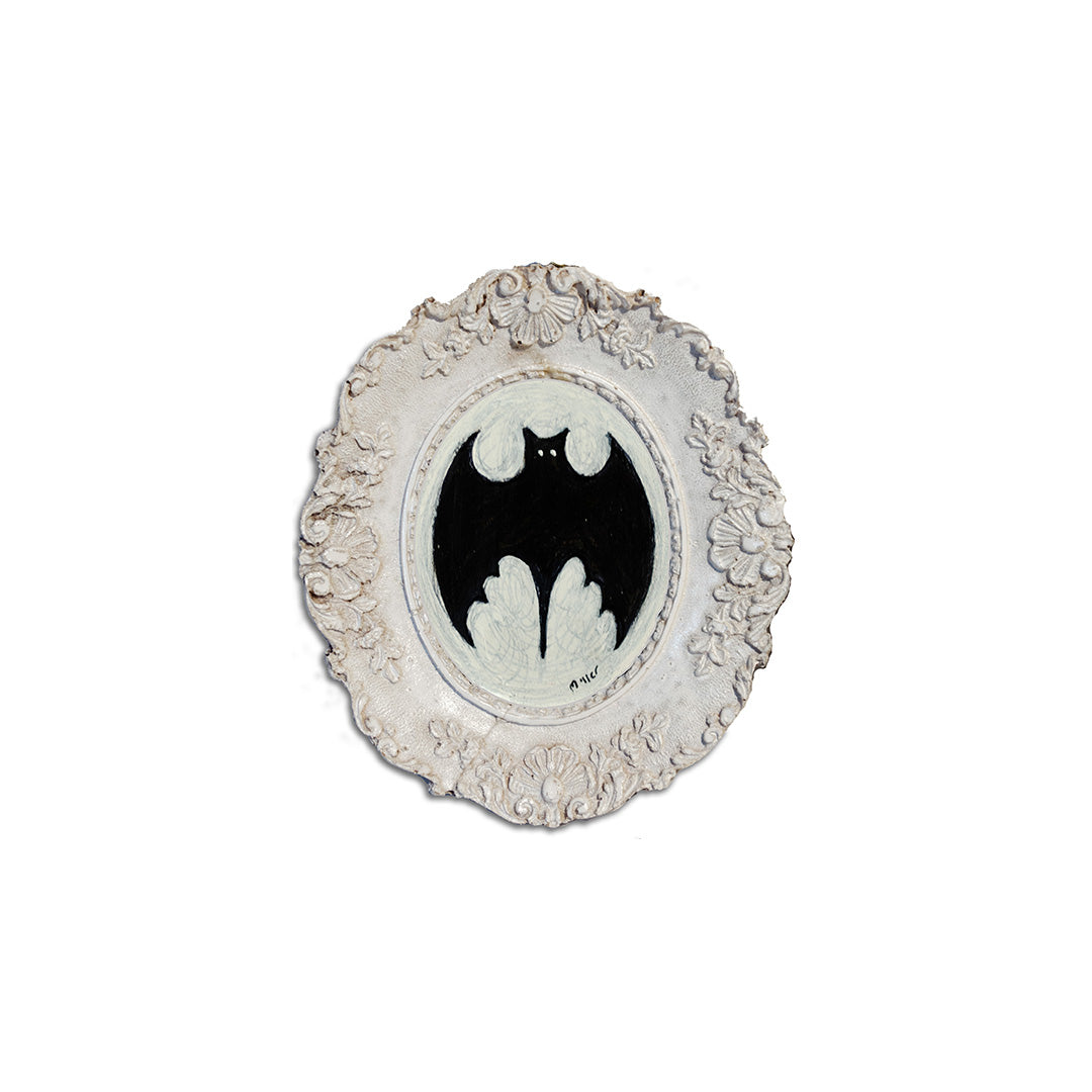"Small Bat Silhouette, 2"" Oval Acrylic Painting"