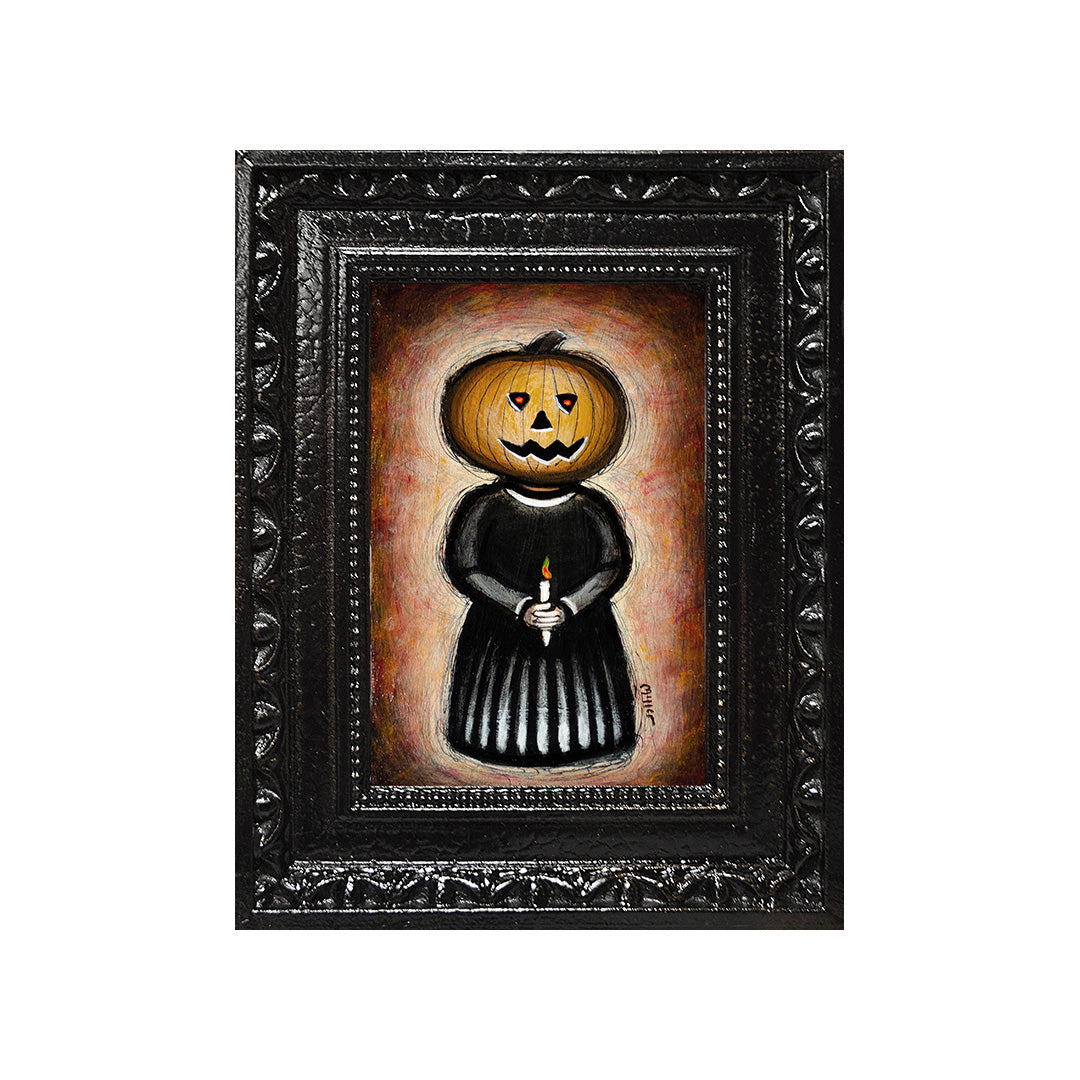 "<p>Pumpkinhead #2, 5x7"" Acrylic Painting by Justin D Miller. Comes with frame as shown, ready to hang with wire. All acrylic paintings are on masonite wood panel and have a semi-gloss finish. Size listed is of the painting size, not including frame. For fully framed size, please contact me.  Sticker on back with name, size, and my information.</p>"
