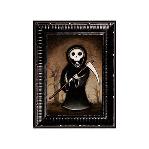 "<p>Reaper, 5x7"" Acrylic Painting by Justin D Miller. Comes with frame as shown, ready to hang with wire. All acrylic paintings are on masonite wood panel and have a semi-gloss finish. Size listed is of the painting size, not including frame. For fully framed size, please contact me.  Sticker on back with name, size, and my information.</p>"