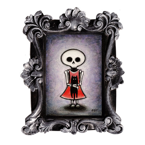 "<p>Skeleton Girl, 5x7"" Acrylic Painting by Justin D Miller. Comes with frame as shown, ready to hang with wire. All acrylic paintings are on masonite wood panel and have a semi-gloss finish. Size listed is of the painting size, not including frame. For fully framed size, please contact me.  Sticker on back with name, size, and my information.</p>"
