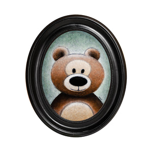 "Bear with Black Nose, 8"" Oval, Acrylic Painting"