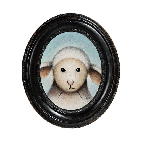 "<p>Sheep Portrait, 9"" Oval, Acrylic Painting by Justin D Miller. Comes with frame as shown, ready to hang with wire. All acrylic paintings are on masonite wood panel and have a semi-gloss finish. Size listed is of the painting size, not including frame. For fully framed size, please contact me.  Sticker on back with name, size, and my information.</p>"