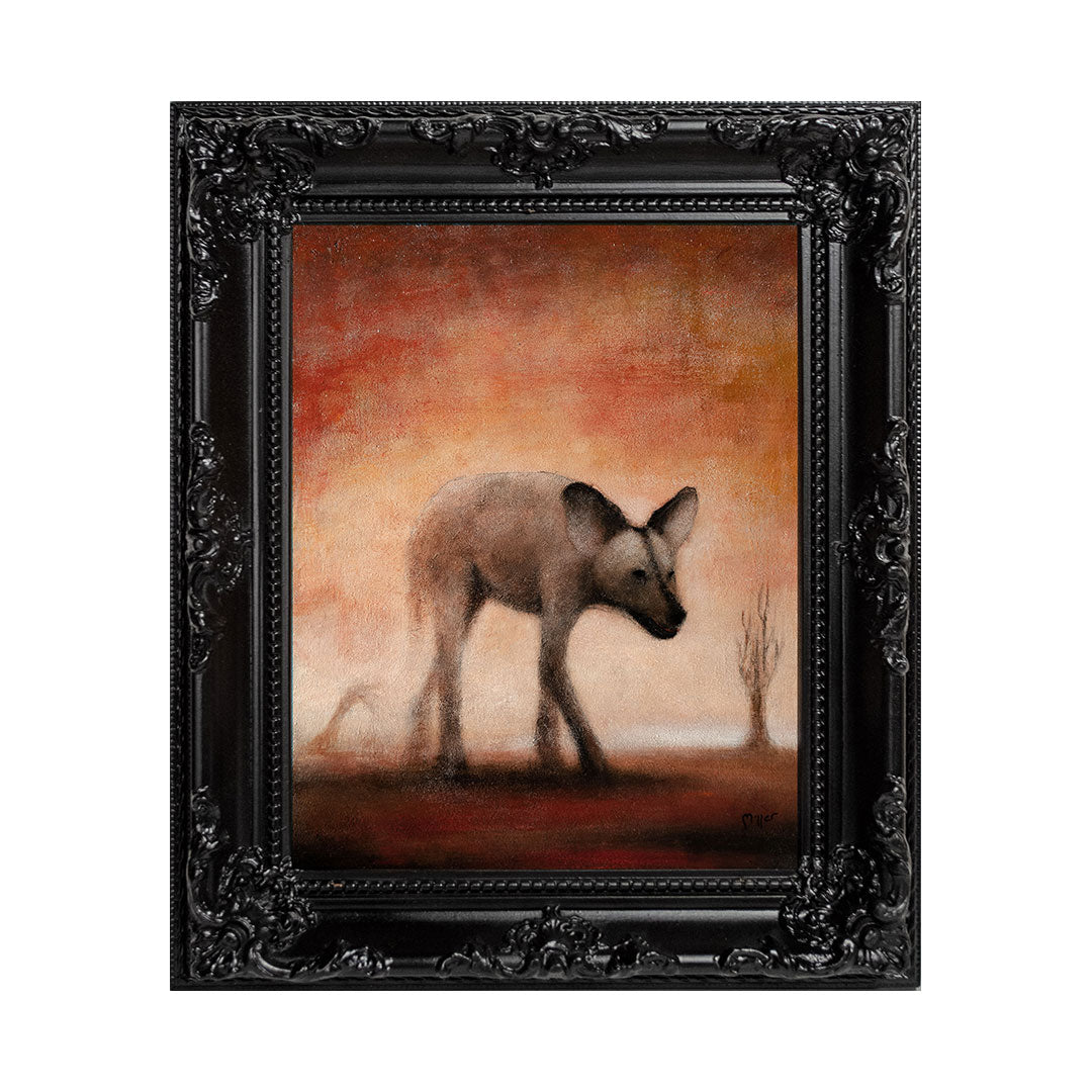 "<p>African Wild Dog, 8x10"" Acrylic Painting by Justin D Miller. Comes with frame as shown, ready to hang with wire. All acrylic paintings are on masonite wood panel and have a semi-gloss finish. Size listed is of the painting size, not including frame. For fully framed size, please contact me.  Sticker on back with name, size, and my information.</p>"