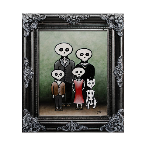 "<p>Skeleton Family, 8x10"" Acrylic Painting by Justin D Miller. Comes with frame as shown, ready to hang with wire. All acrylic paintings are on masonite wood panel and have a semi-gloss finish. Size listed is of the painting size, not including frame. For fully framed size, please contact me.  Sticker on back with name, size, and my information.</p>"