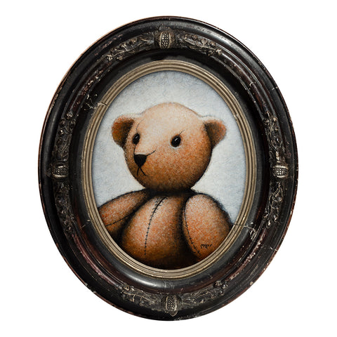 "Old Bear Portrait, 10"" Oval, Acrylic Painting"