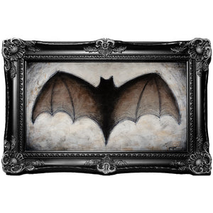 "<p>Large Bat, 14x8"" Acrylic Painting by Justin D Miller. Comes with frame as shown, ready to hang with wire. All acrylic paintings are on masonite wood panel and have a semi-gloss finish. Size listed is of the painting size, not including frame. For fully framed size, please contact me.  Sticker on back with name, size, and my information.</p>"