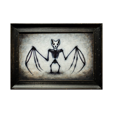 "<p>Bat Skeleton, 16x10"" Acrylic Painting by Justin D Miller. Comes with frame as shown, ready to hang with wire. All acrylic paintings are on masonite wood panel and have a semi-gloss finish. Size listed is of the painting size, not including frame. For fully framed size, please contact me.  Sticker on back with name, size, and my information.</p>"