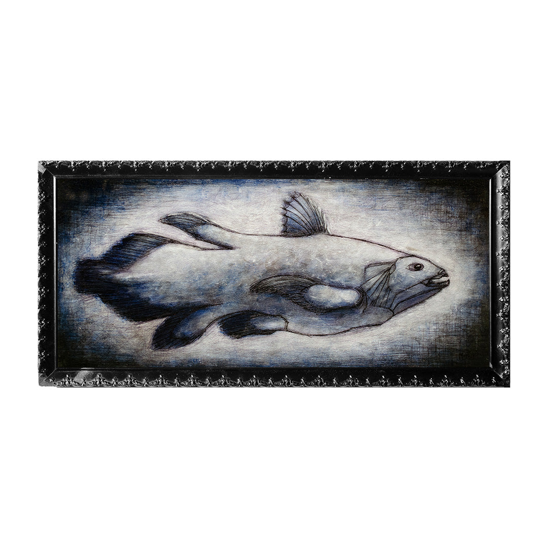 "<p>Coelacanth, 18x8"" Acrylic Painting by Justin D Miller. Comes with frame as shown, ready to hang with wire. All acrylic paintings are on masonite wood panel and have a semi-gloss finish. Size listed is of the painting size, not including frame. For fully framed size, please contact me.  Sticker on back with name, size, and my information.</p>"