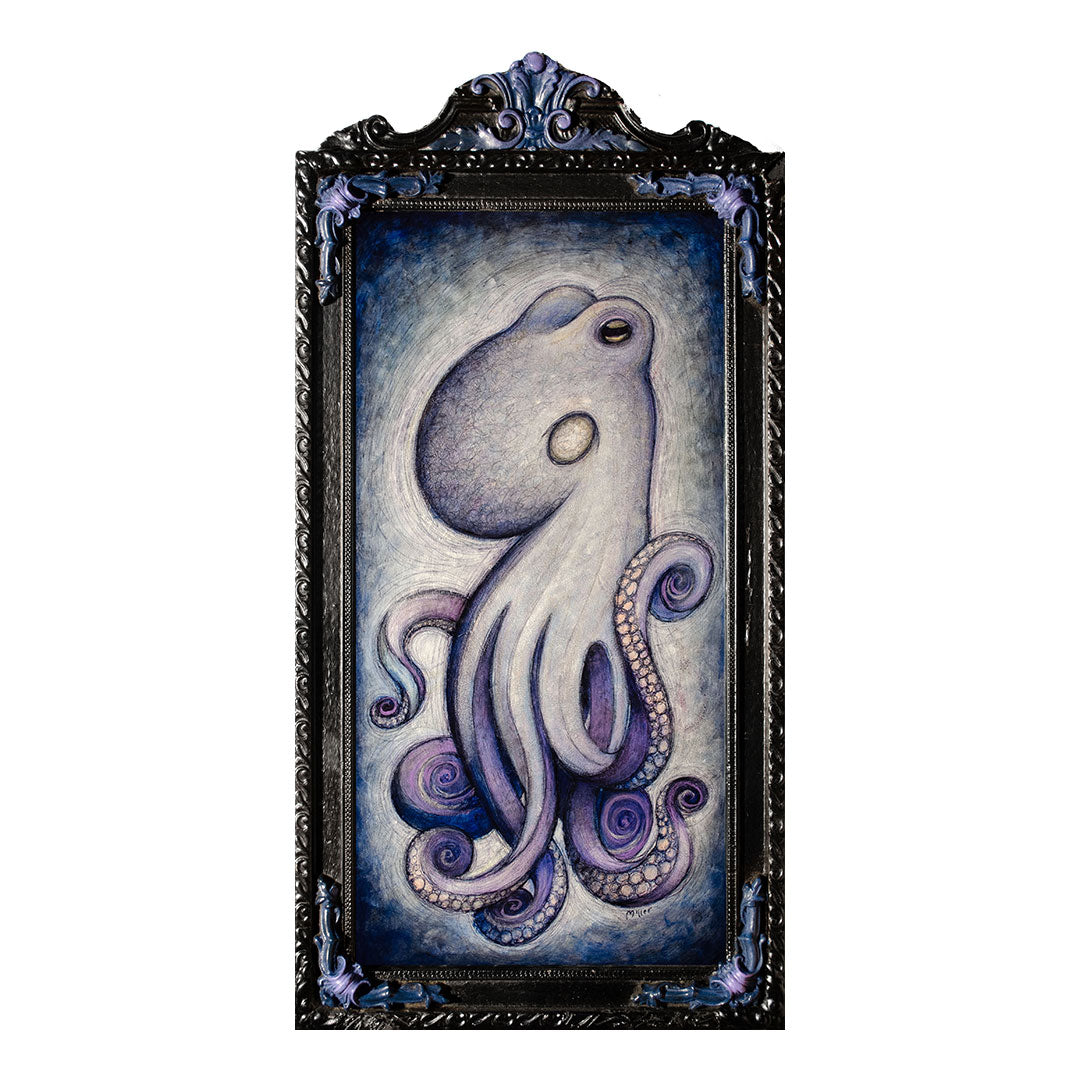 "<p>Octopus, 20x10"" Acrylic Painting by Justin D Miller. Comes with frame as shown, ready to hang with wire. All acrylic paintings are on masonite wood panel and have a semi-gloss finish. Size listed is of the painting size, not including frame. For fully framed size, please contact me.  Sticker on back with name, size, and my information.</p>"