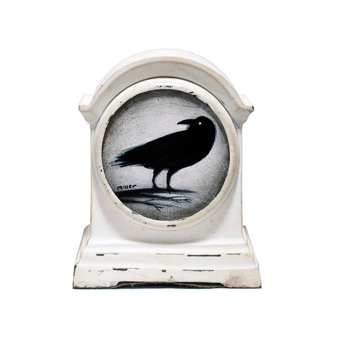 "<p>Crow in Clock, 3"" Dia. Acrylic Painting by Justin D Miller. Painting sits in metal clock frame as shown. All acrylic paintings are on masonite wood panel and have a semi-gloss finish. Size listed is of the painting size, not including frame. For fully framed size, please contact me.  Sticker on back with name, size, and my information.</p>"