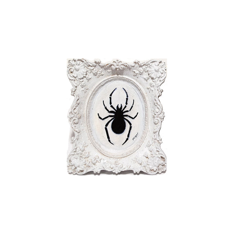 "Small Spider, 3"" Oval Acrylic Painting on Resin Frame"