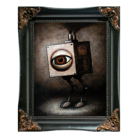 "Walking Eye Cube, 9x7"" Acrylic Painting"