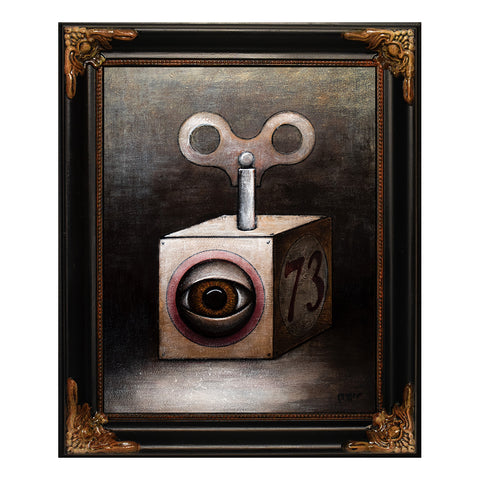 "Wind-Up Eye Cube, 10x8"" Acrylic Painting"