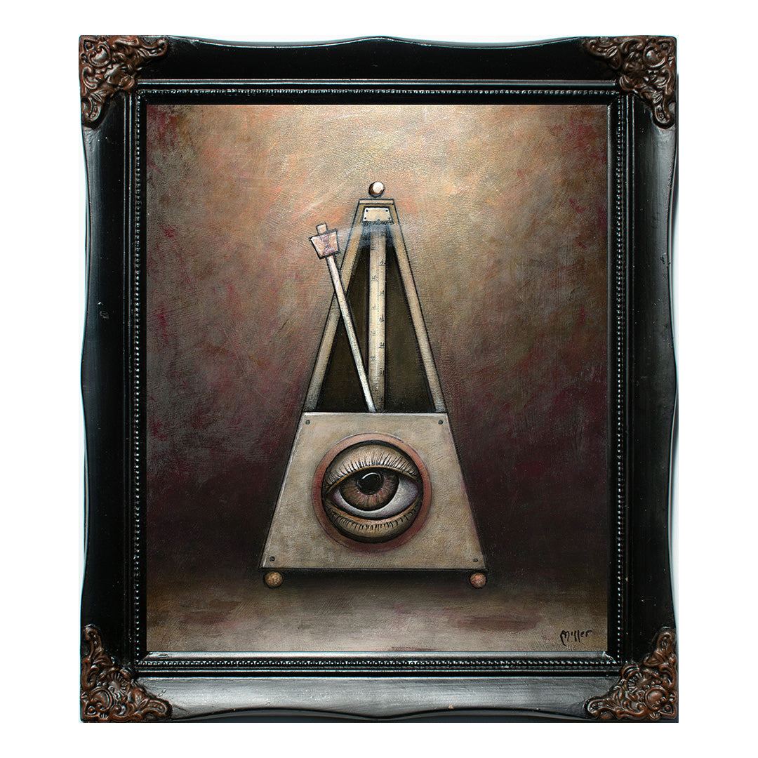 "<p>Metronome, 12x10"" Acrylic Painting by Justin D Miller.<br></p> <p>Comes with frame as shown, ready to hang with wire. All acrylic paintings are on masonite wood panel and have a semi-gloss finish. Size listed is of the painting size, not including frame. For fully framed size, please contact me.  Sticker on back with name, size, and my information.</p>"