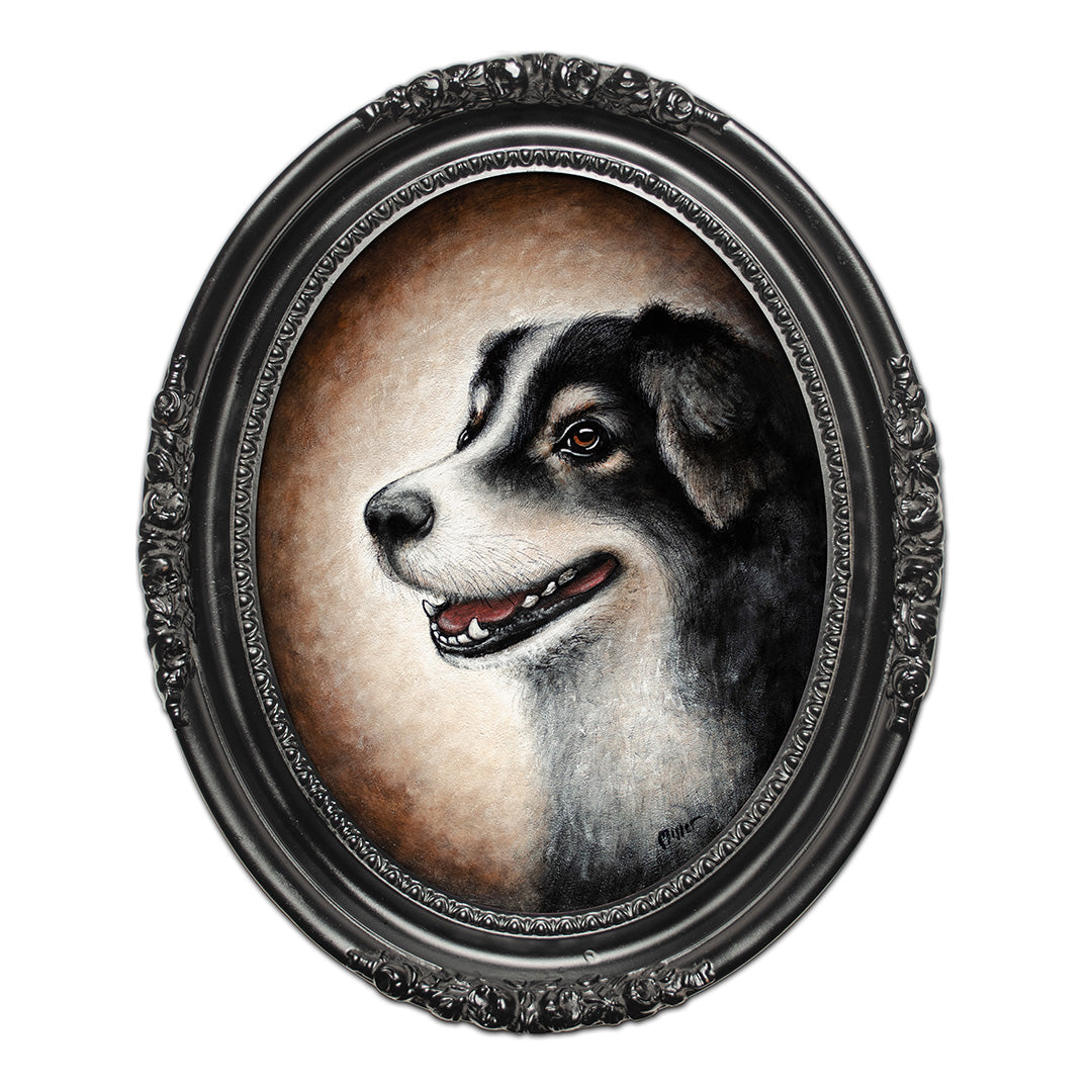 "<p>Bailey the Dog, 14"" Oval Acrylic Painting by Justin D Miller.</p> <p>Special Commission painting</p>"