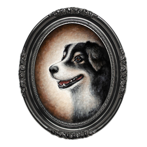"Bailey the Dog, 14"" Oval Acrylic Painting"