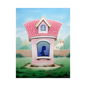 "<p>Princess Playhouse, 11x14"" Acrylic Painting by Justin D Miller</p> <p>Acrylic on masonite panel, 3/4"" black finished edges, Ready to Hang with Wire</p>"