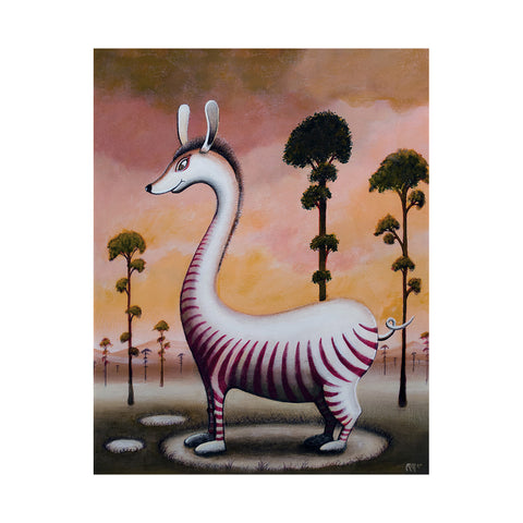 "<p>Belly Striped Bongo, 11x14"" Acrylic Painting by Justin D Miller</p> <p>Ready to hang with wire. Frameless; edges are 1.5"" finished painted black. Painting is on masonite wood panel with semi-gloss finish. Sticker on back with name, size, and my information.</p>"