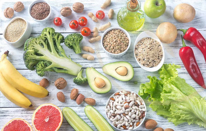 Selection of plant-based whole foods essential for a balance diet