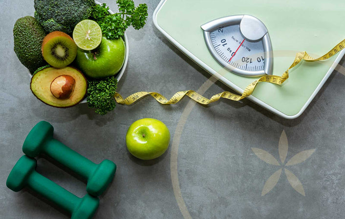 Weights, scales, fruits and vegetables - healthy ways to lose weight