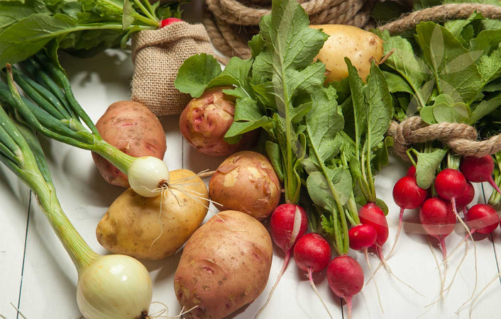 Selections of whole foods that support the respiratory system: Onions, potatoes and radishes