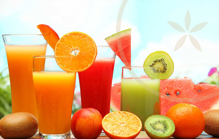 Selection of hydrating fruits and juices