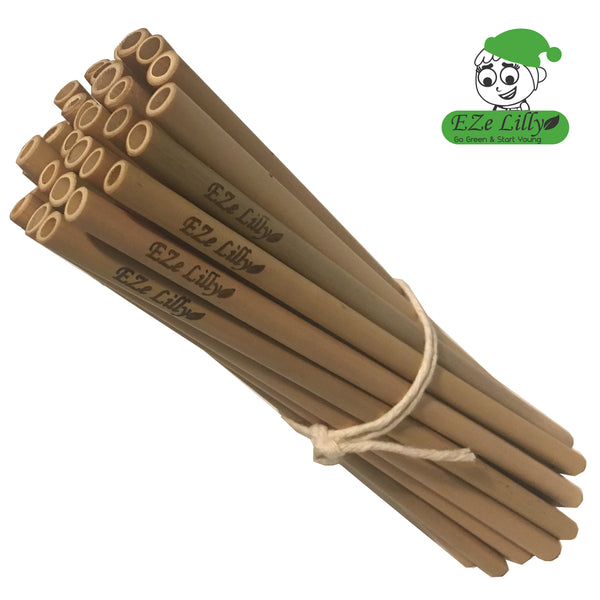 EZeLilly Organic Bamboo Straws - Bulk-value 30pcs/50pcs/100pcs - Reusable| Sustainable |Eco-Friendly |Biodegradable |Nontoxic Drinking Straws - Great for group party