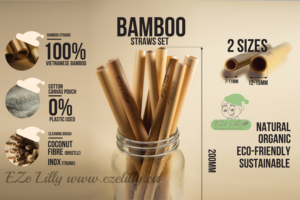 EZeLilly Organic Bamboo Straws - 4-Pack with Coconut Fiber Cleaning Brush - Reusable| Sustainable |Eco-Friendly |Biodegradable |Nontoxic Drinking Straws - Easy To Clean and Portable Carrying Pouch