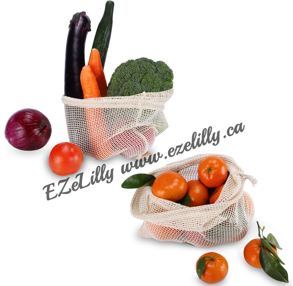 EZeLilly Reusable Mesh Produce Bag - Organic Cotton Mesh Produce Bags for Fruits and Vegetables -  Biodegradable - Double stitched - Durable Drawstring