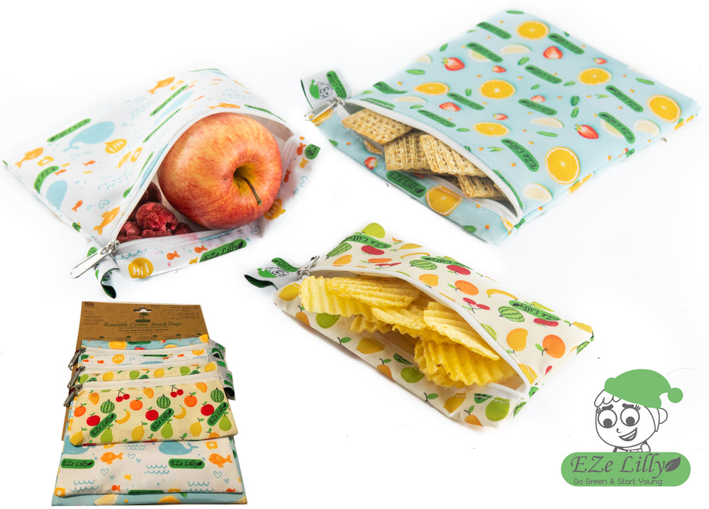 EZeLilly Reusable Snack Bags - Eco Friendly, Zero Waste Cotton Reusable Bags - Lunch Bag, Sandwich Bags, Cookie Bags, Kids Lunch Bags - Washable