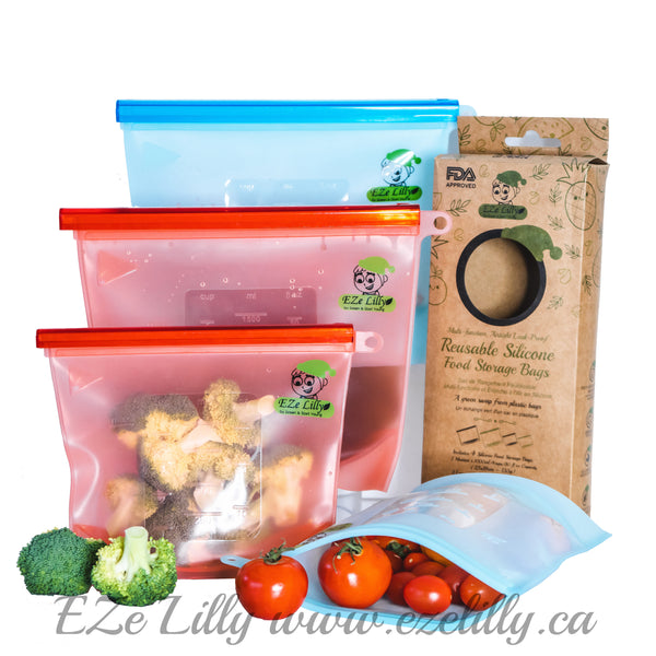 EZeLilly Multi-function, Airtight Leak-Proof  Reusable Silicone Food Storage bag - Set of 4
