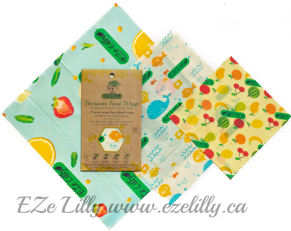 EZe Lilly Organic Cotton Beeswax Food Wraps  | 100% Organic cotton Beewax wrap