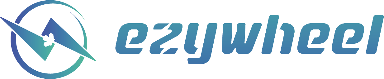 a blue and green logo showing a canadian maple leaf inside two triangles inside an incomplete circles represents the dynamic movement of the canadian electric bike brand that is EzyWheel