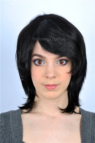 Medium Length Black wig