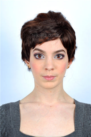 short mixed brown wig