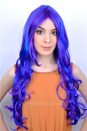 purple curly wig