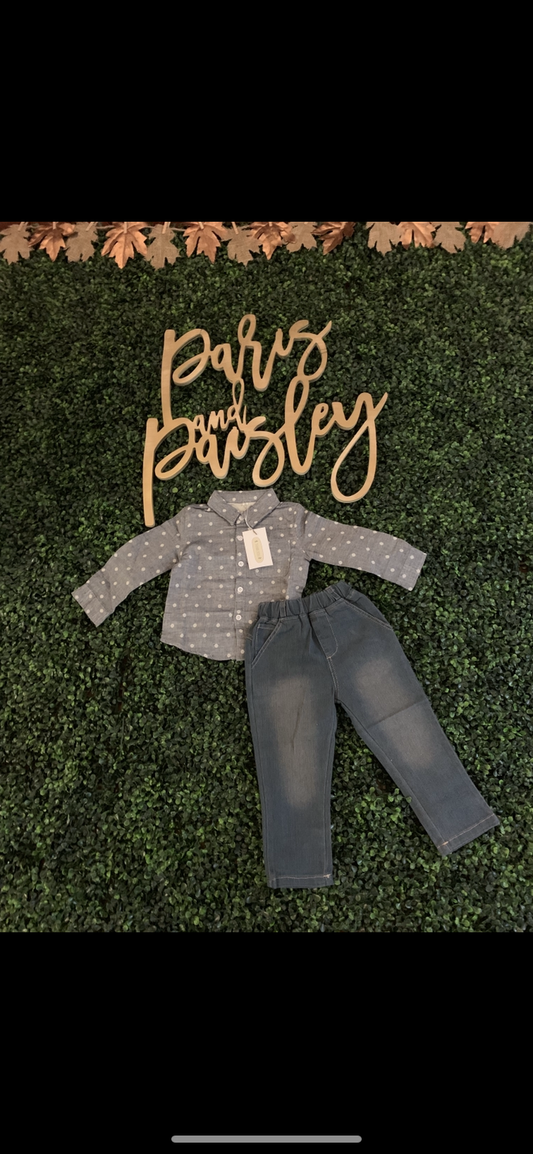 Polka Dot Tot - (2 Piece shirt & Jean set)