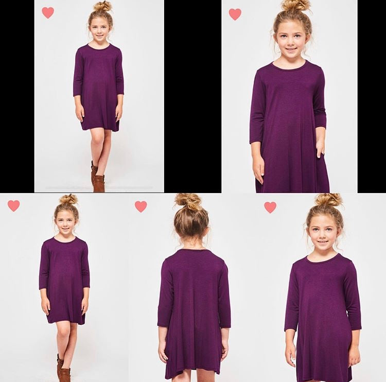 Kids Solid  Dress👗