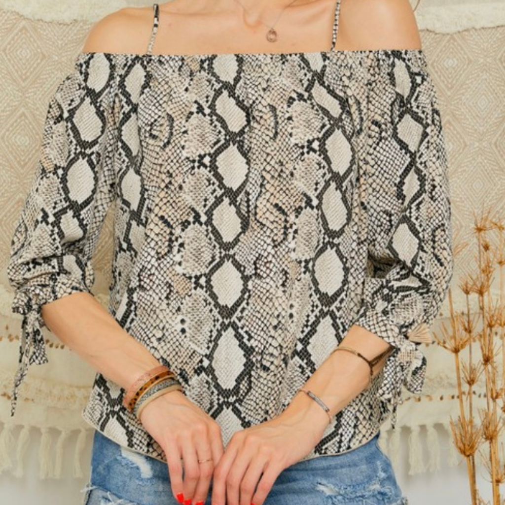 Snake Skin Off Shoulder Top
