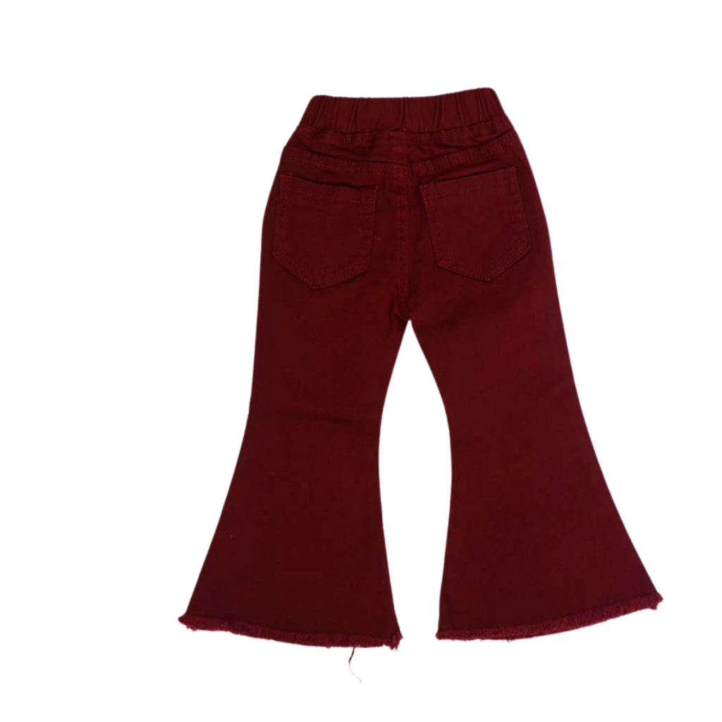 Raw hem bell bottom maroon denim jeans   JP