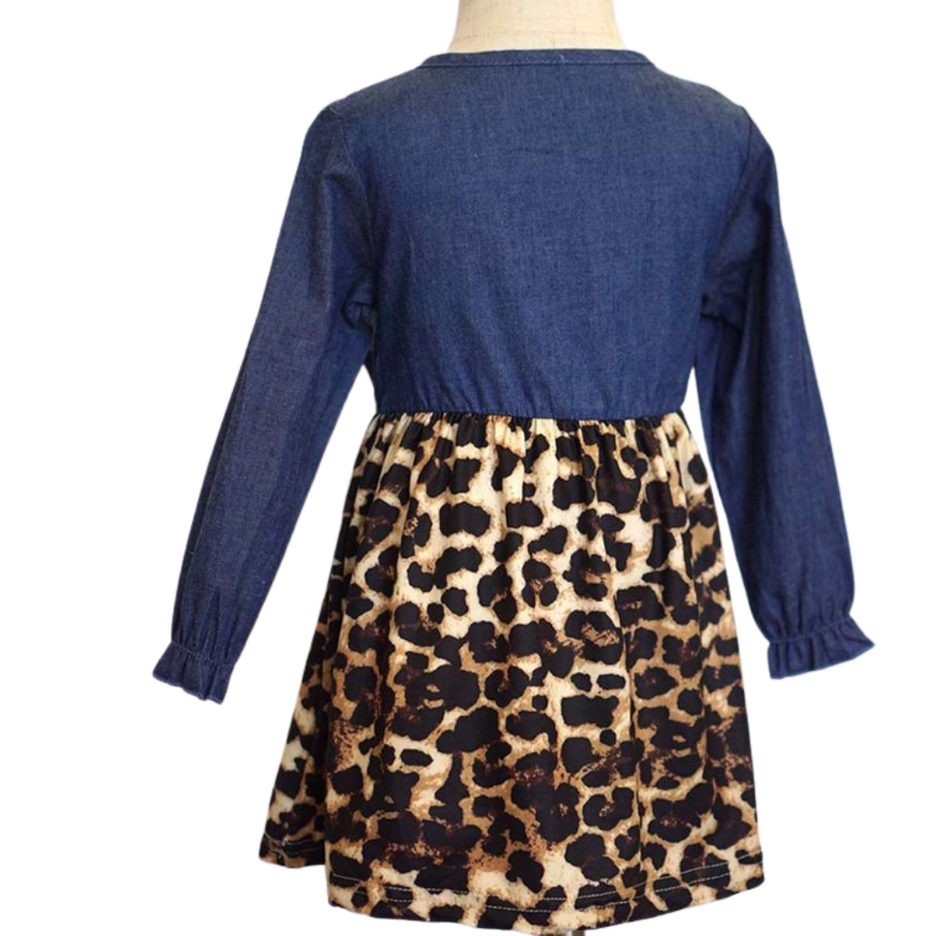 Leopard print denim bow front dress.          Fall Kids