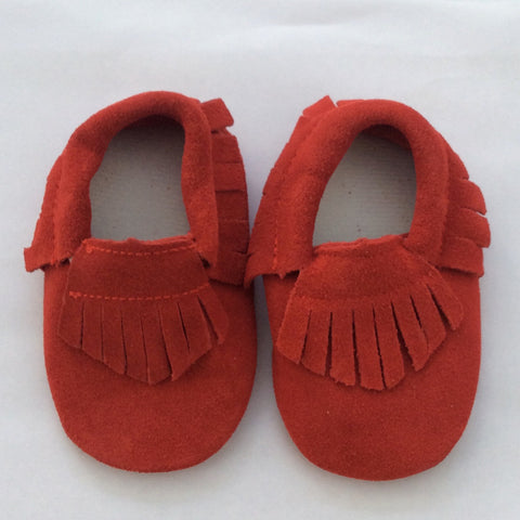 Little Berry Red Suede Moccasins