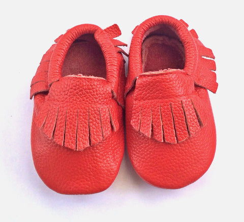 Little Red leather moccasins